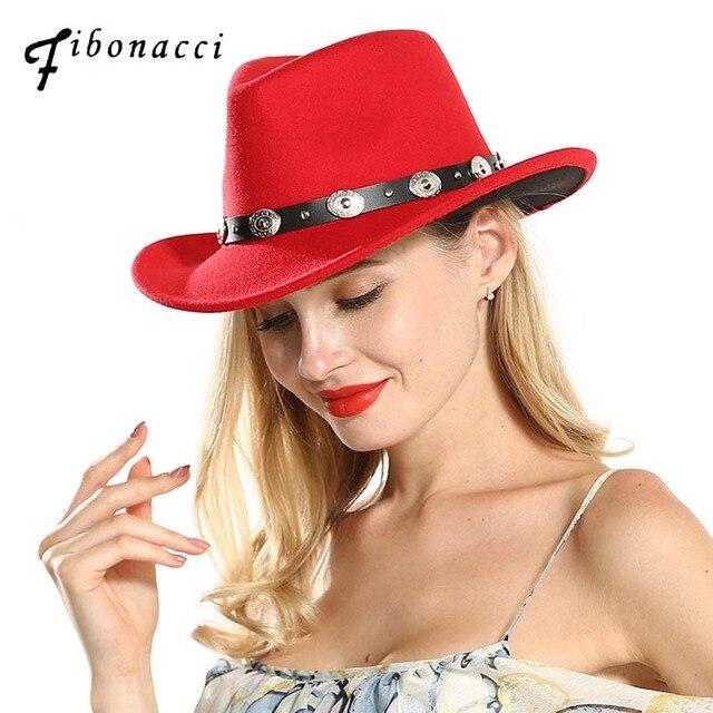 Fibonacci 2018 New Fashion Red Black Patchwork Western Cowboy Hat Men Women  Hats Belt Decoration Wide Brim Headwear Cap ae7cf703687