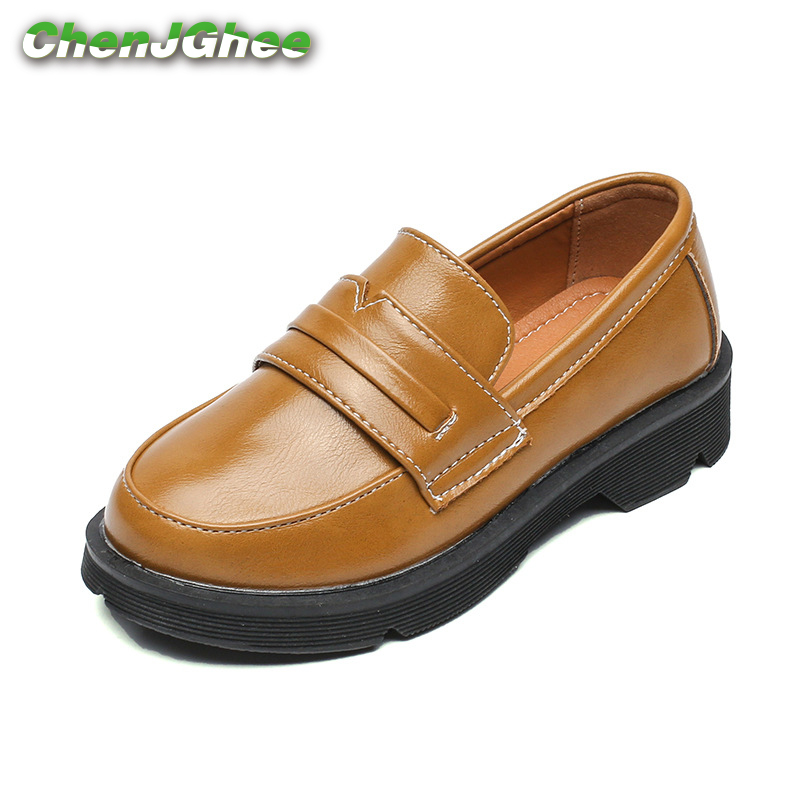 ChenJGhee 2019 Kids Shoes For Boys Girls PU Leather Soft Fashion British Style Children Loafers Thick Bottom Anti-slippery Flats