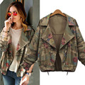 2016 Women Army Green Long Sleeve Lapel Floral Print with Drawstring Zipper Packet Coat Spring Fall New Loose Casual Jacket A163