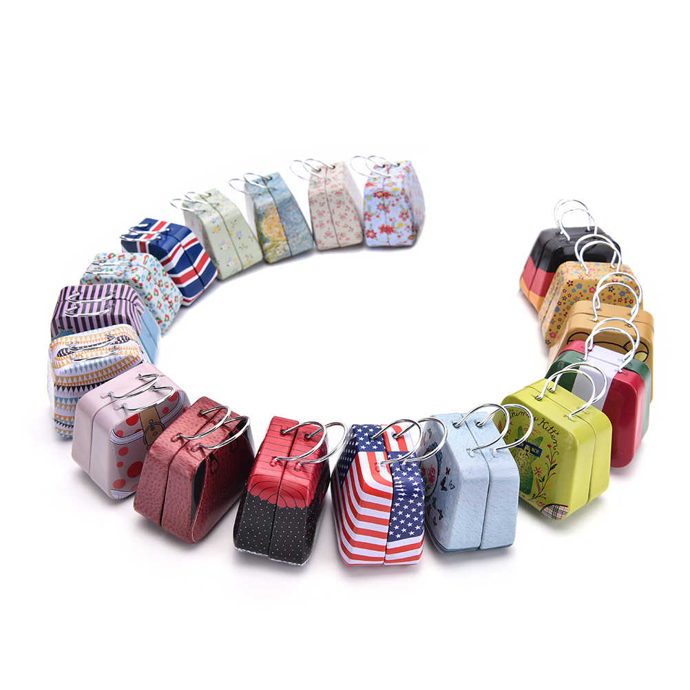 Мини Олово Hox ретро чемодан небольшой прямоугольный коробка конфет небольшой жестяной контейнер 54*33*45 мм