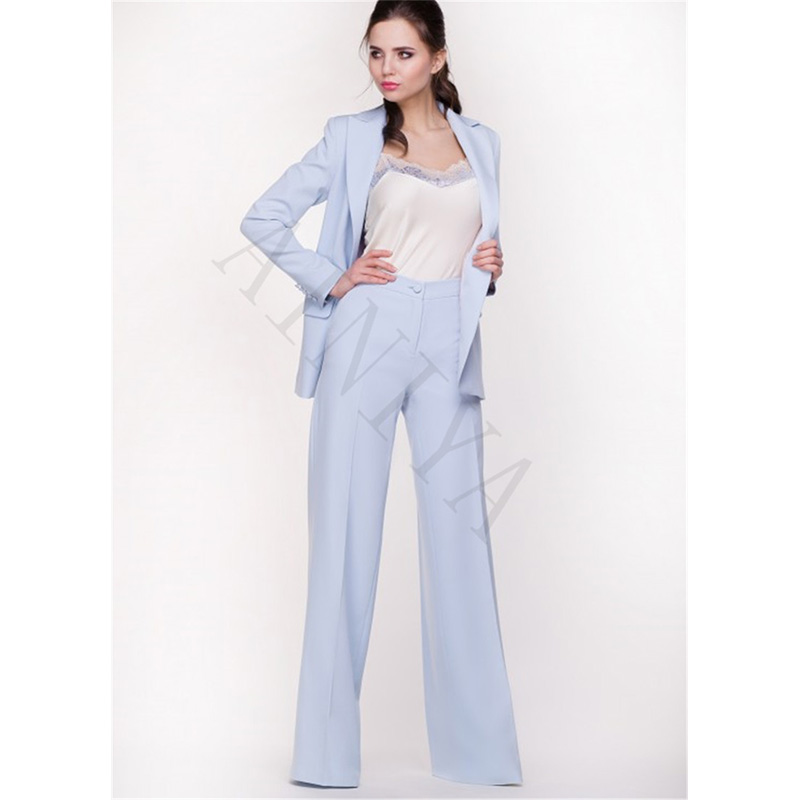 Suits & Sets Constructive Light Blue Sky Business Women Suits Office Formal Working Thin Uniform Styles 2 Piece Pants Suits Blazer Female Custom Suit Made
