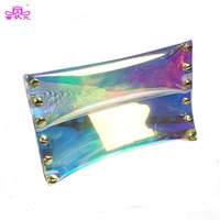 2017 Small Day Clutches Purse Rivet Clear Envelope Bag Summer Hologram Women Handbags Causal Party Evening