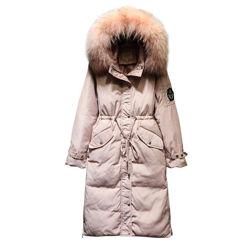 2018 D'hiver de Femmes Chaud Vers Le Bas Manteau Long de Haute qualité Marque Blanc Duvet de Canard dames Veste Plus La taille Femelle parka femmes QH0902