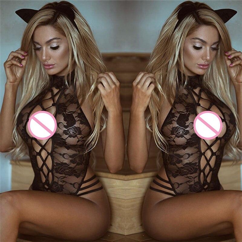 Сексуальное нижнее белье размера плюс 3XL, костюм черного цвета, Прозрачный женский сексуальный кружевной открытый бюстгальтер, сексуальное нижнее белье Тедди, костюм кошки