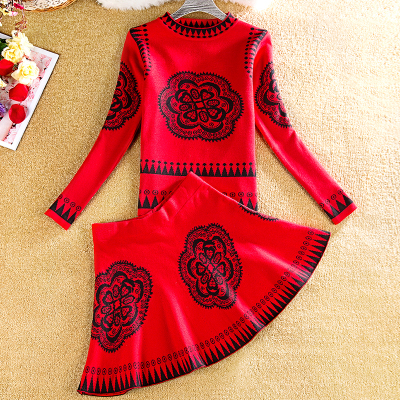 New Arrival 2018 Women Vintage Style Knitting Clothing Set Long-sleeved Sweater And Big Swing Waist Skirt Print 2pcs Set