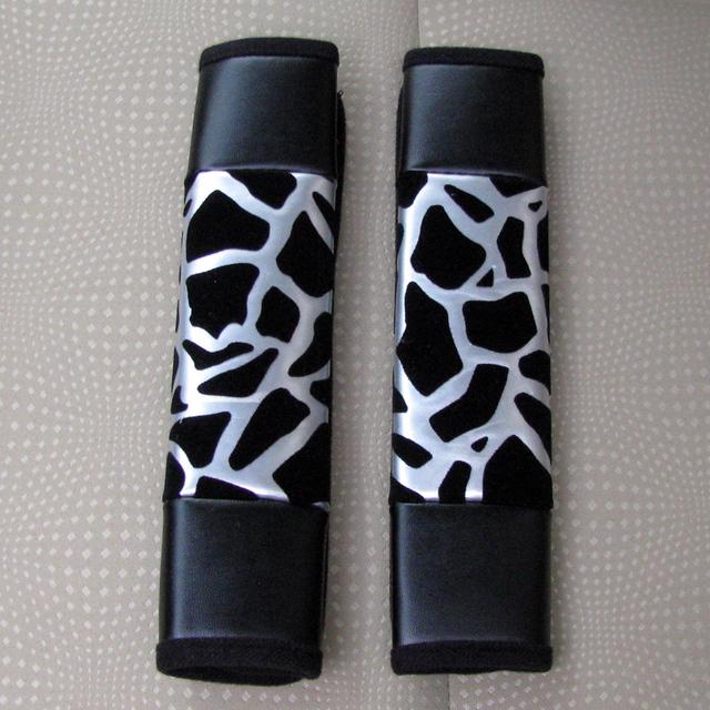 Más barato estampado leopardo de la PU asiento de automóvil cinturón de seguridad cubre decoración del coche 2 unids - blanco