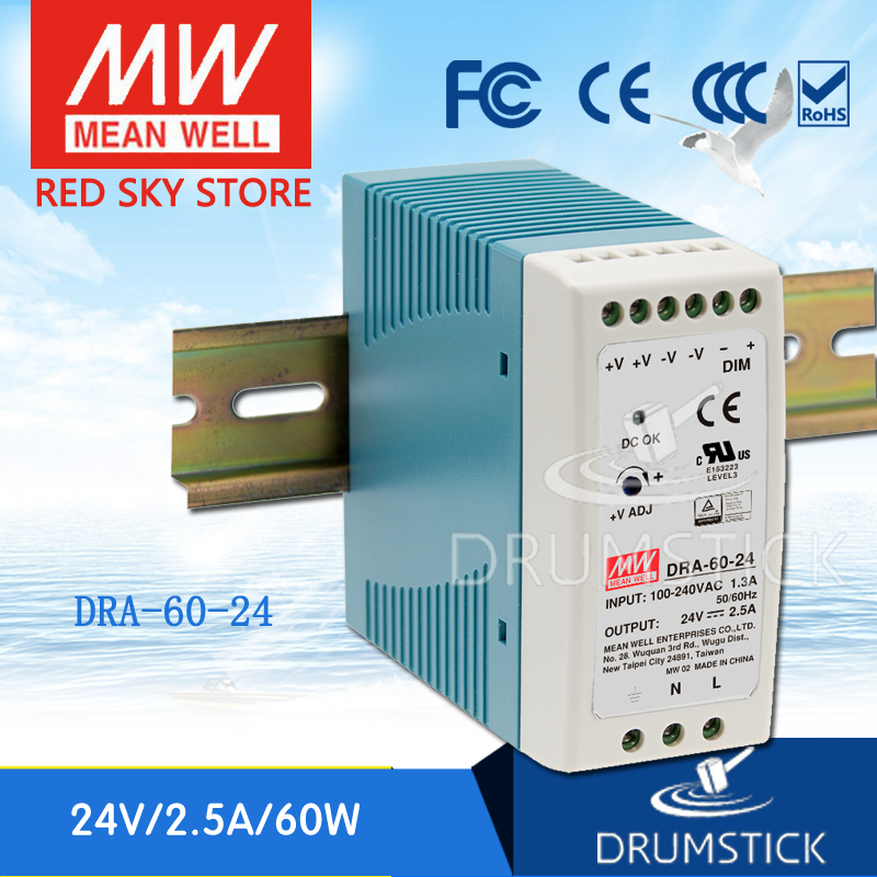 Hot sale MEAN WELL DRA-60-24 24V 2.5A meanwell DRA-60 24V 60W Single Output Switching Power Supply ванна victoria albert drayton dra n sw of ft dra sw