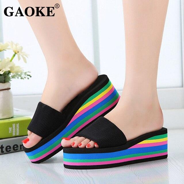 2019 Summer Women Sandal Slippers Platform Bath Slippers Wedge Beach Flip Flops High Heel Slippers Beach Slide Shoes