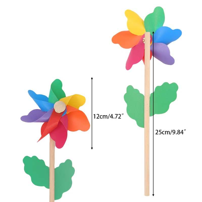 Wood Windmill Wind Spinner Pinwheels Home Garden Yard Decoration Kids Toys