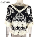 GACVGA Brand 2017 Casual Cotton Black Hollow Out Blouse Shirt Women Vintage V Neck Lace Blouses Women Tops Blusas