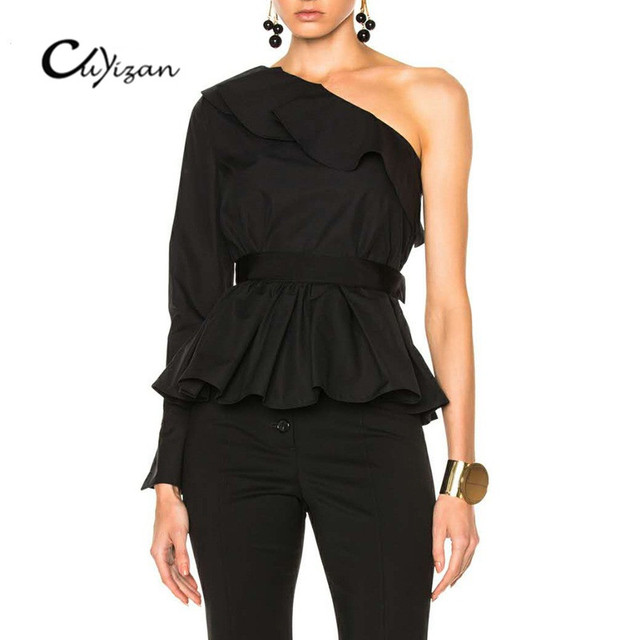 CUYIZAN One shoulder ruffles blouse sashes shirt women tops irregural 2017  autumn Casual black shirt Long