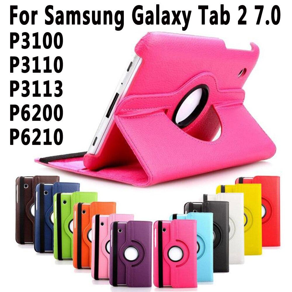 360 Degrés de Rotation PU Couverture En Cuir Pour Samsung Galaxy Tab 2 7.0 P3100 Tablet Case pour Samsung Galaxy Tab2 7.0 P3100 P3110 cas