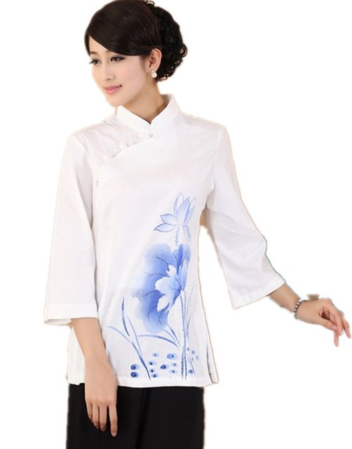 2a25b5aed97 Shanghai Story Qipao Shirt mandarin collar traditional Chinese tops Linen  Top Lotus printed blouse chinese Blouses 3 color