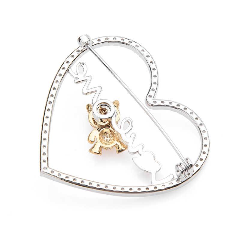 Wuli & baby Ceco Oro di Strass Orso D'argento Del Cuore Spille Donne Amore Mobile Orso Animale Dello Smalto Spilla Spilli Regali