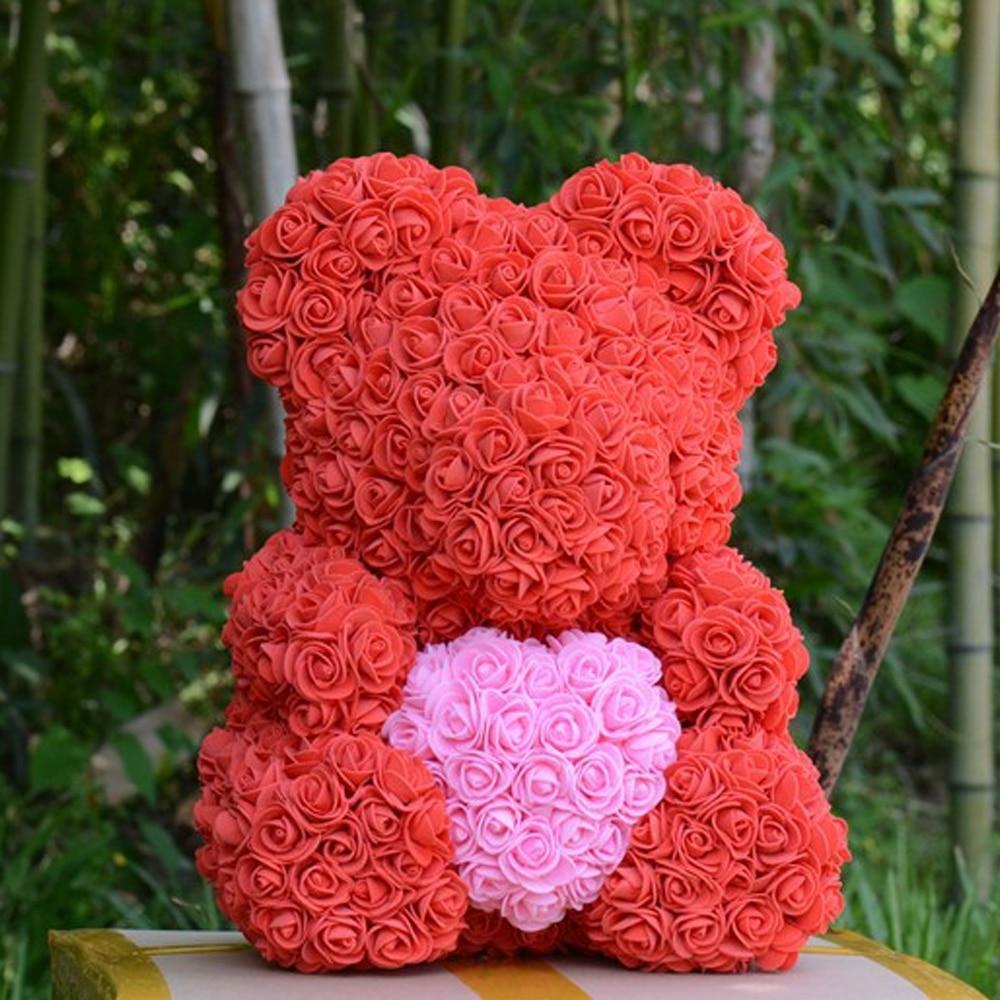 40*25*25 см розовый медведь плюшевые игрушки влюбленные день Святого Валентина девушка день рождения Рождественский подарок свадебный подарок искусственная Роза кукла - Цвет: red
