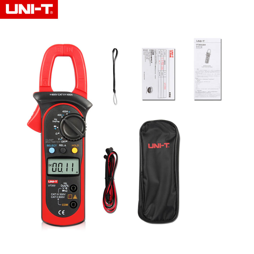 UNI-T UT204A DC/AC Voltage Current Digital Clamp Meter with Resistance, Capacitance, Frequency and Temperature Measurement мультиметр uni t uni t ut71b alicate amperimetro ac dc
