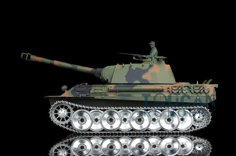 2.4Ghz HengLong 1/16 German Panther RTR RC Tank Metal Road Wheel Sound Smog 3819
