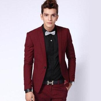 Burgundy Slim Fit Men Suits Wedding Groom Wear Tuxedos Terni 2 Pieces (Jacket+Pants) Business Prom Suits Best Man Costume Homme