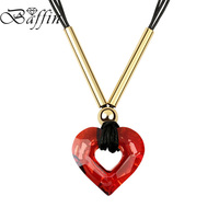 Best Quality Vintage Circle Heart Necklace Rope Chain Collares Made With Swarovski Elements Crystals From Swarovski