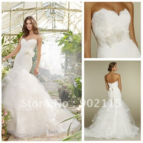free shipping best selling sweetheart organza mermaid