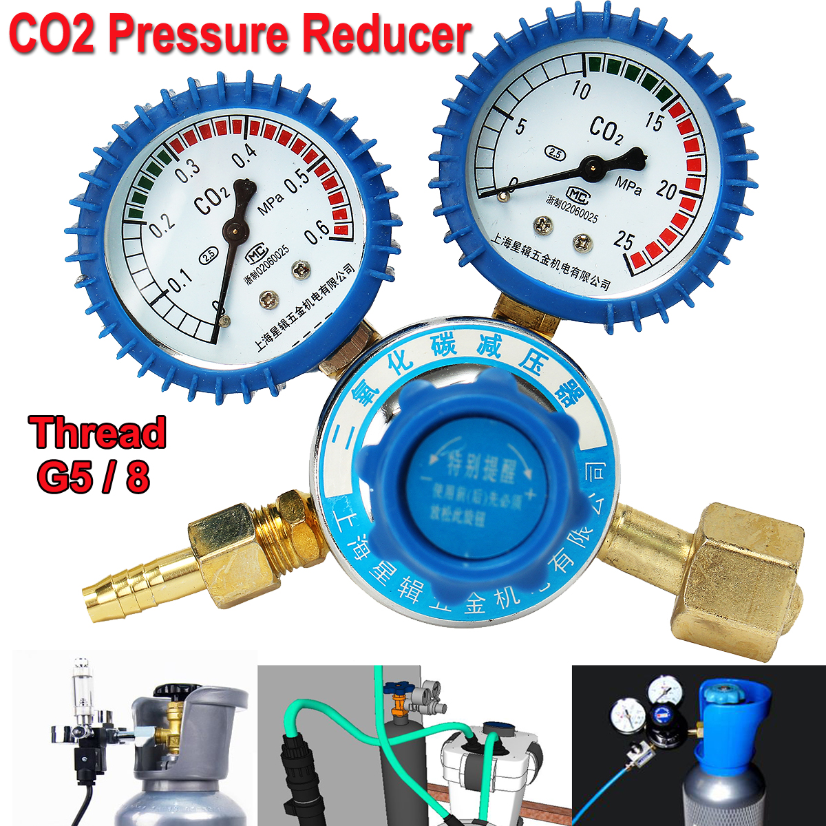Argon CO2 Pressure Reducer Mig Tig Flow Control Gas Regulator Dual Gauge Welding factory direct carbon dioxide gas welding gas mixture co2 pressure reducer heating accessories table gh100