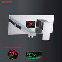 BAKALA Digital display Bathroom Basin Sink Faucet Wall Mounted Square Chrome Brass Mixer Tap With Embedded Box LT 320T