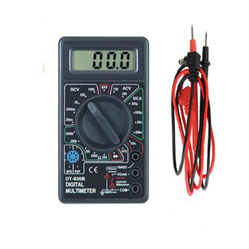 Mini DT-830B LCD Digital Multimeter Voltmeter Ampere Ohm Meter Test Probe DC AC