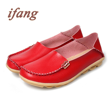 ifang 2016 Genuine Leather Women Ballet Flats Four Seasons Shoes Woman Flat Loafers Women's Genuine Leather Nurse Casual Shoes