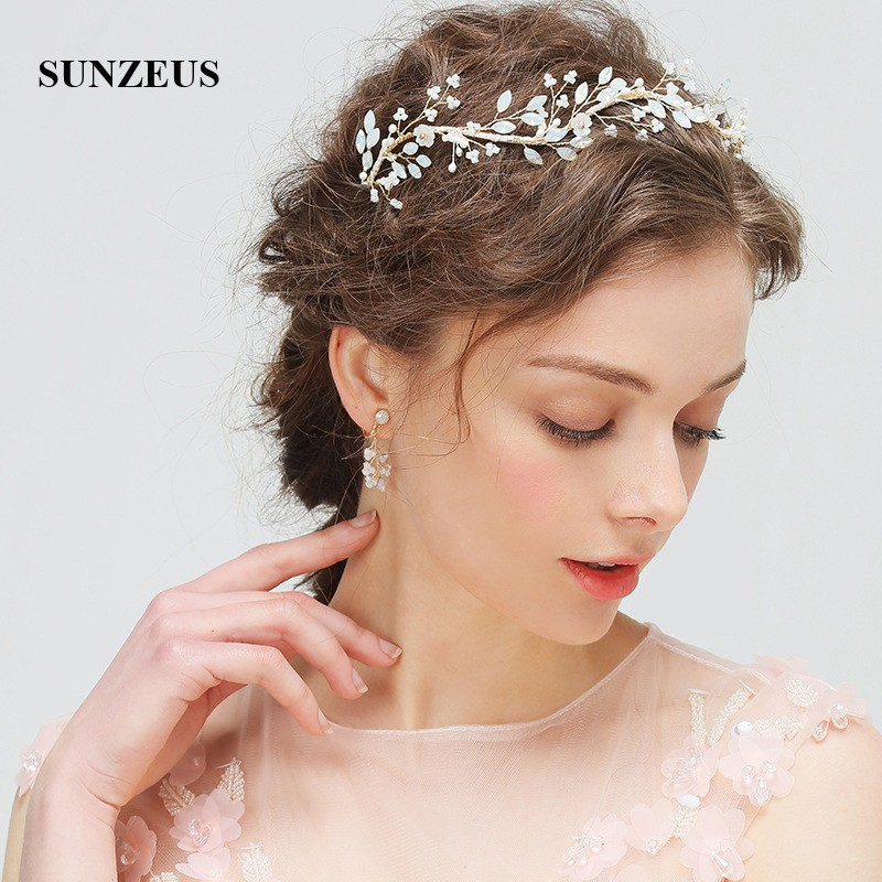 Headband And Earrings Wedding Accessories Set For Bridal Flowers Crystals Women's Engagement Party Hair Decoration SHA33