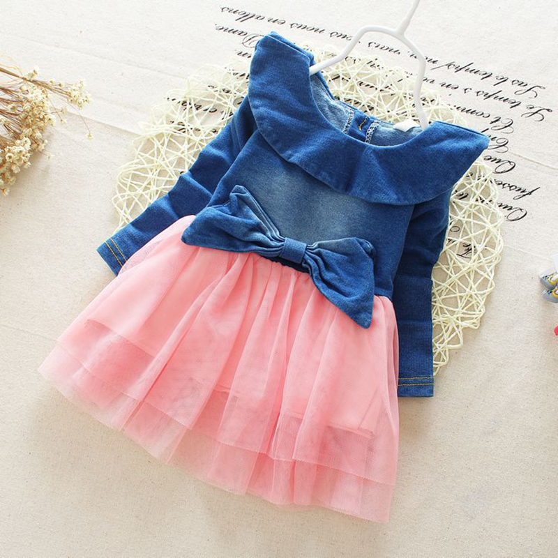 2019 Autumn Winter Girl Dress Long Sleeve Pure color Girls Dresses Bow Princess Teenage Casual Dress 8 Years Children Clothes in Dresses from Mother Kids