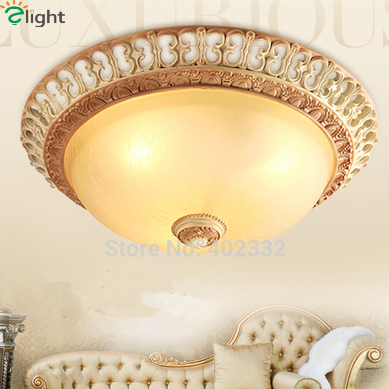 Europe Retro Carved Resin Led Ceiling Lights Fixtures Lustre Frosted Glass Bedroom Led Ceiling Lamp Led Ceiling Light Luminarias modern rural metal led ceiling lamp lustre printing glass bedroom led ceiling lights living room led ceiling lights fixtures