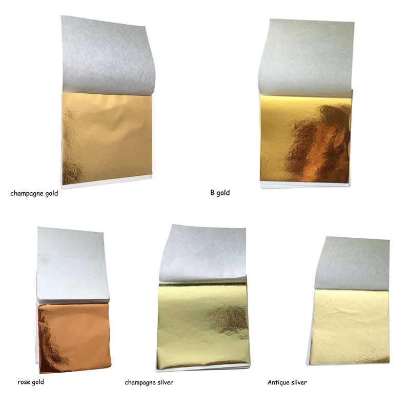 100 Pcs 9x9cm, Arte, Artigianato Imitazione Dell'oro Del Nastro di Foglio di Rame Foglia Foglie Documenti Lenzuola Doratura FAI DA TE decorazione di Carta di Design