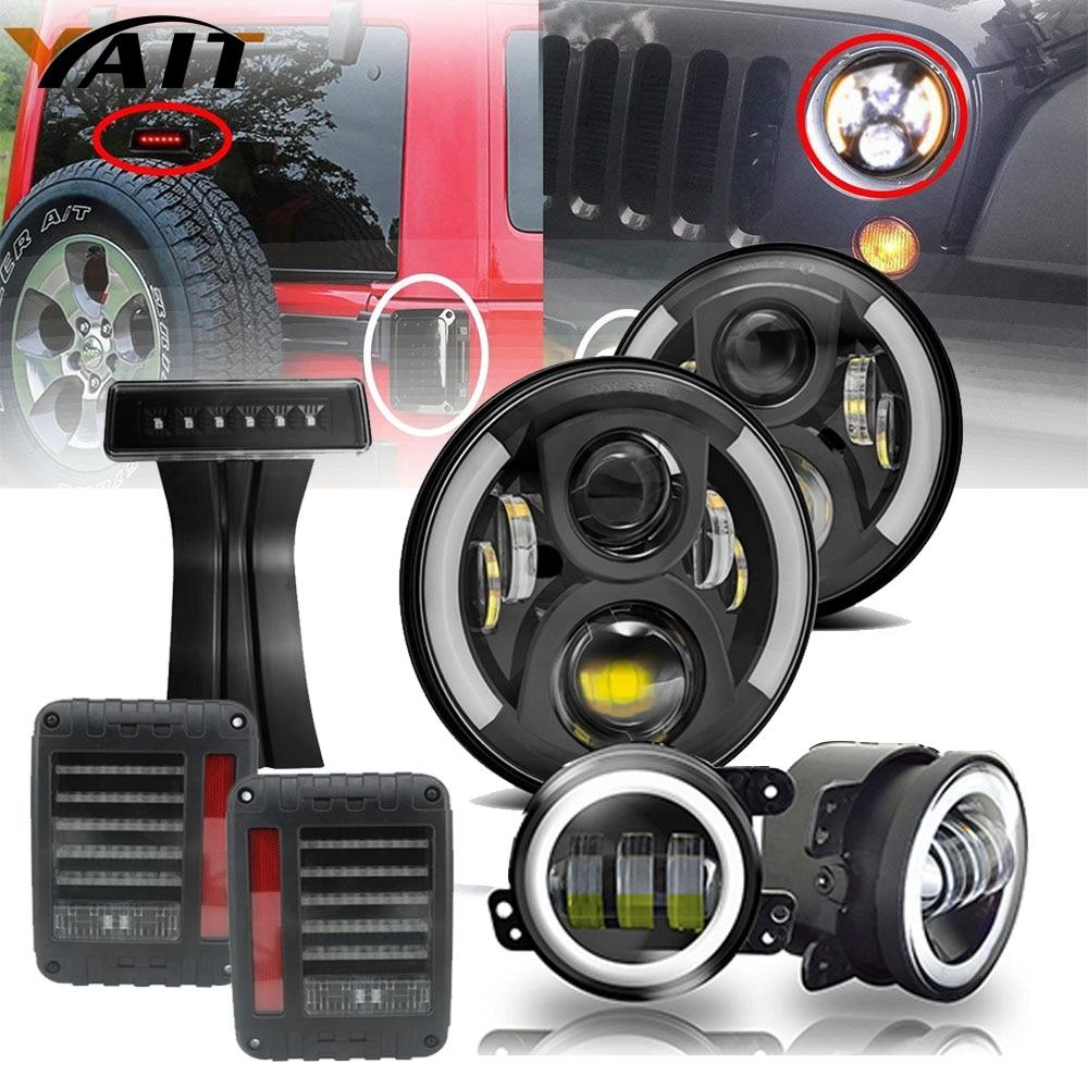 DOT 7Inch Led Headlights Amber Turn Signal 4Inch Front Bumper Fog Lights Led Tail Light For 2007-2017 Jeep Wrangler JK Rubicon