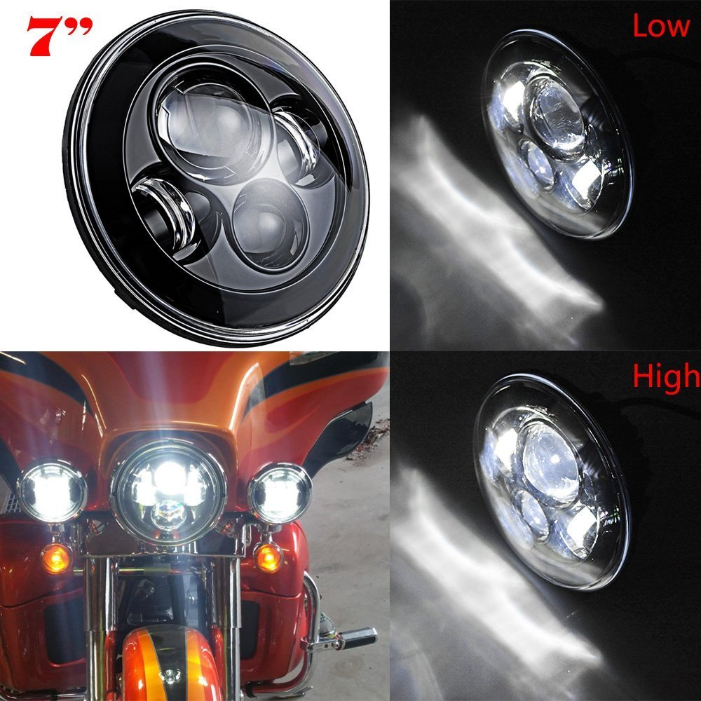 цена на 7 INCH 40W Motorcycle LED Headlight Black projector Daymaker HID LED Head lights Fit For Harley Softail Deluxe Fat Boy FLSTF