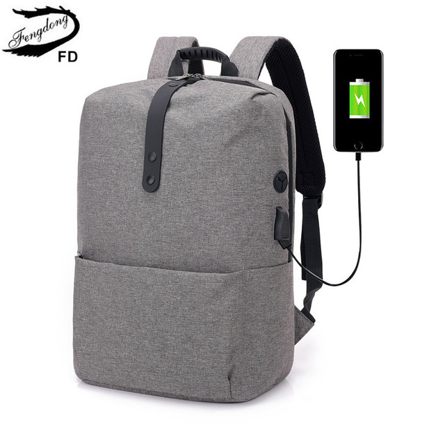 low priced 5be83 99cee Aliexpress.com : Buy FengDong male waterproof usb laptop backpack men  notebook computer bag with headphone jack school backpacks for boys backbag  from ...