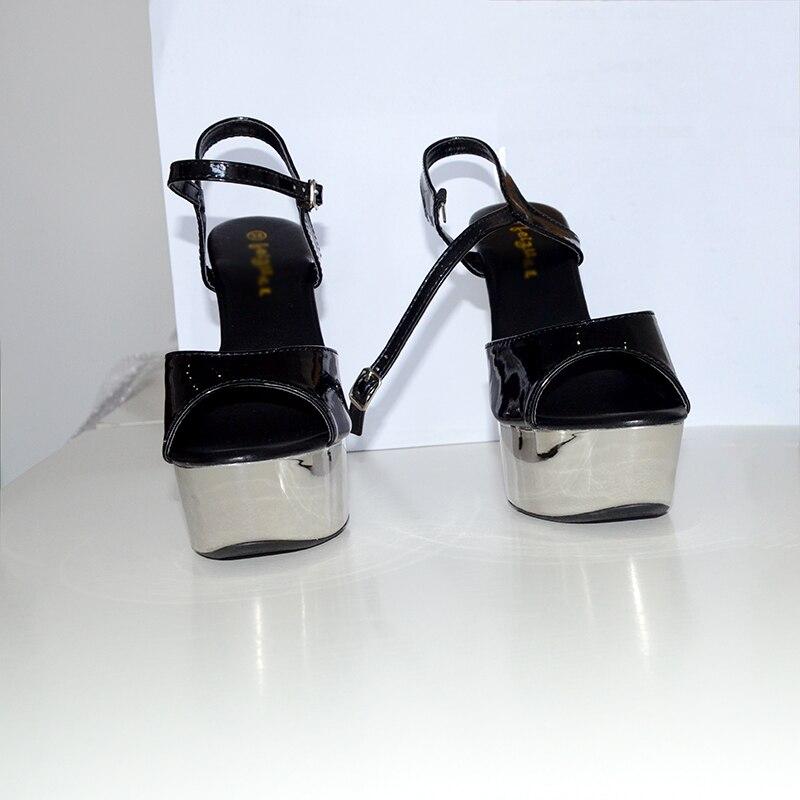Fenty Plate Noir Sandales Heel Cuir forme D'été Beauté En 15 Silver Partie pink Heel Chaussures 15cm Rose Haute Cm Stripper Talons Femmes black Heel Argent Verni Sexy rOrx0wqB