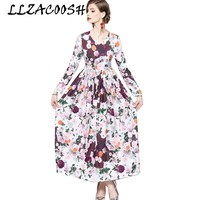 2019 New Arrival High Quality Luxury Runway Spring Maxi Dress Women long sleeve Floral Print Long Dress