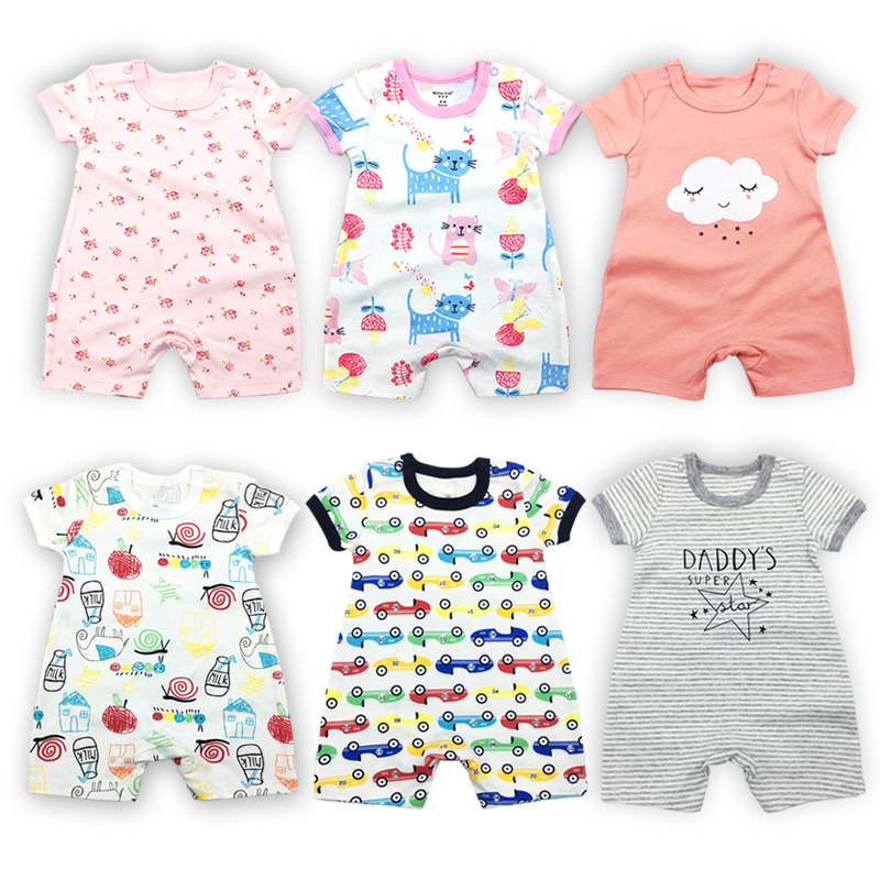 Newborn   Romper   Baby Girl Babies Toddler Summer Short sleeve Cotton Cartoon print 6-24 months Infant Boy Clothes