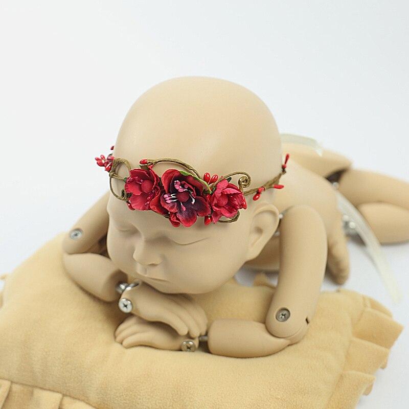 handmade Baby Headband, Newborn Headband, fałszywy kwiat, Baby Girl, - Odzież dla niemowląt - Zdjęcie 4