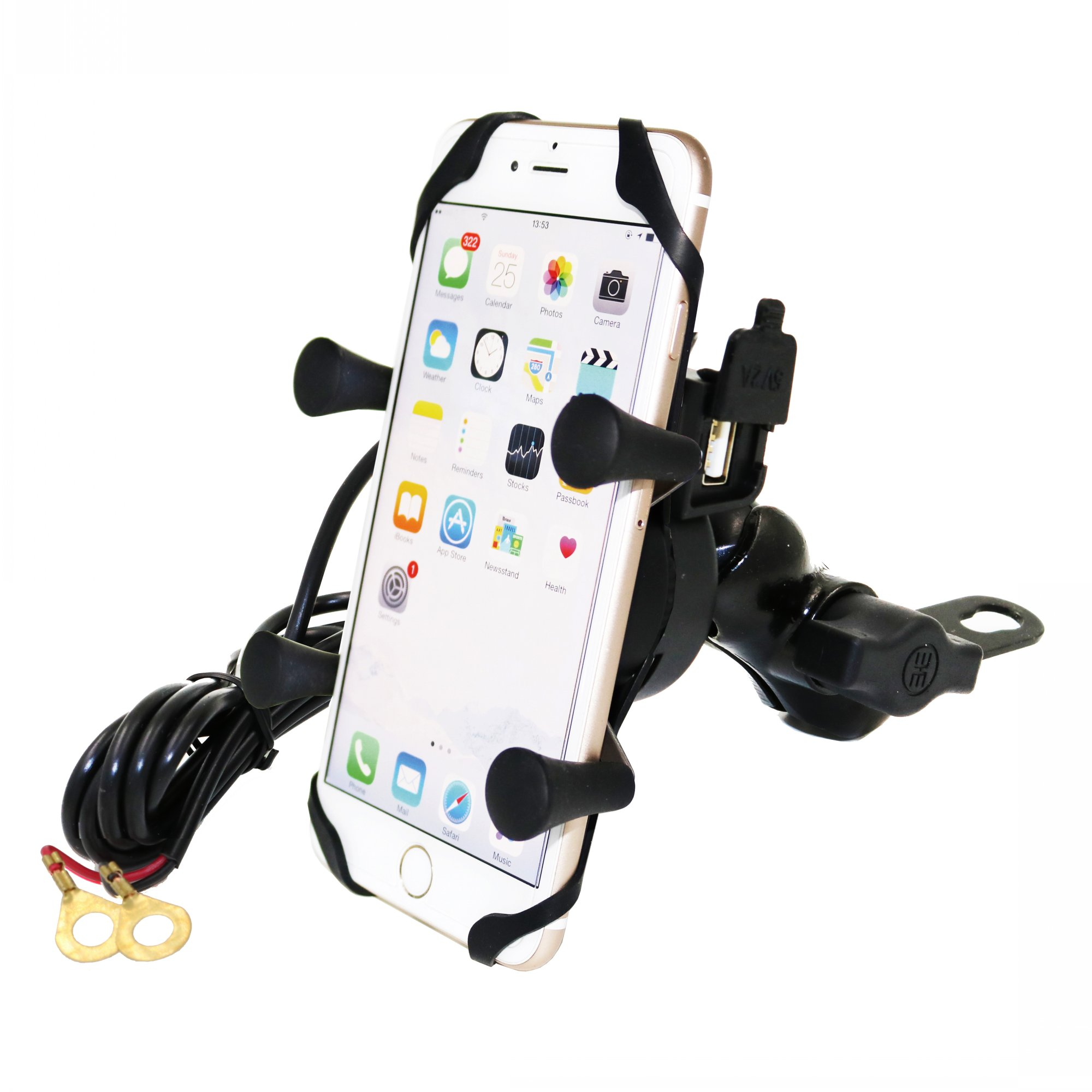 Universal Bike Motorcycle Cell Phone Mount Holder With USB Charger- For any Smartphone, Tablet and GPS charging on the road universal bike bicycle motorcycle helmet mount accessories