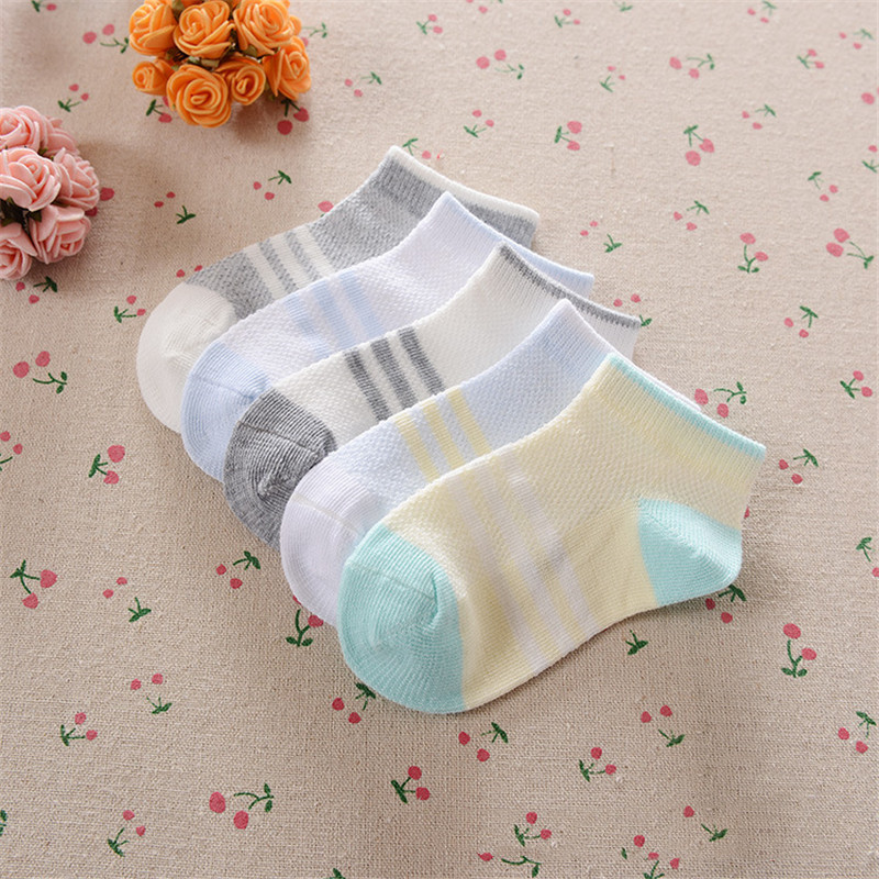 0-12Years Children Socks Summer Mesh Breathable Baby Boys Sport Sock 5pairs/Lot Stripe Cotton Girls Ankle Hose Anklets Kids Sox 14