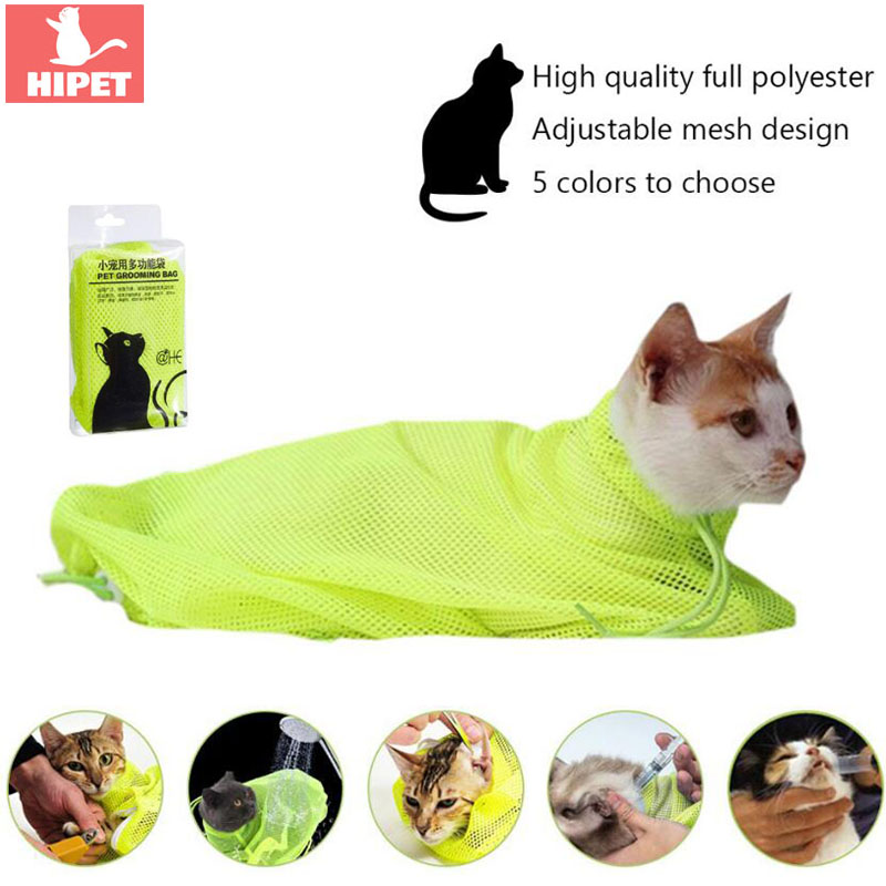 HIPET Adjustable Pet Bathing Bag For Cats Grooming Anti Scratch Bite Restraint Nail Trimming Injection Mesh Cat Grooming Tools in Cat Grooming from Home Garden