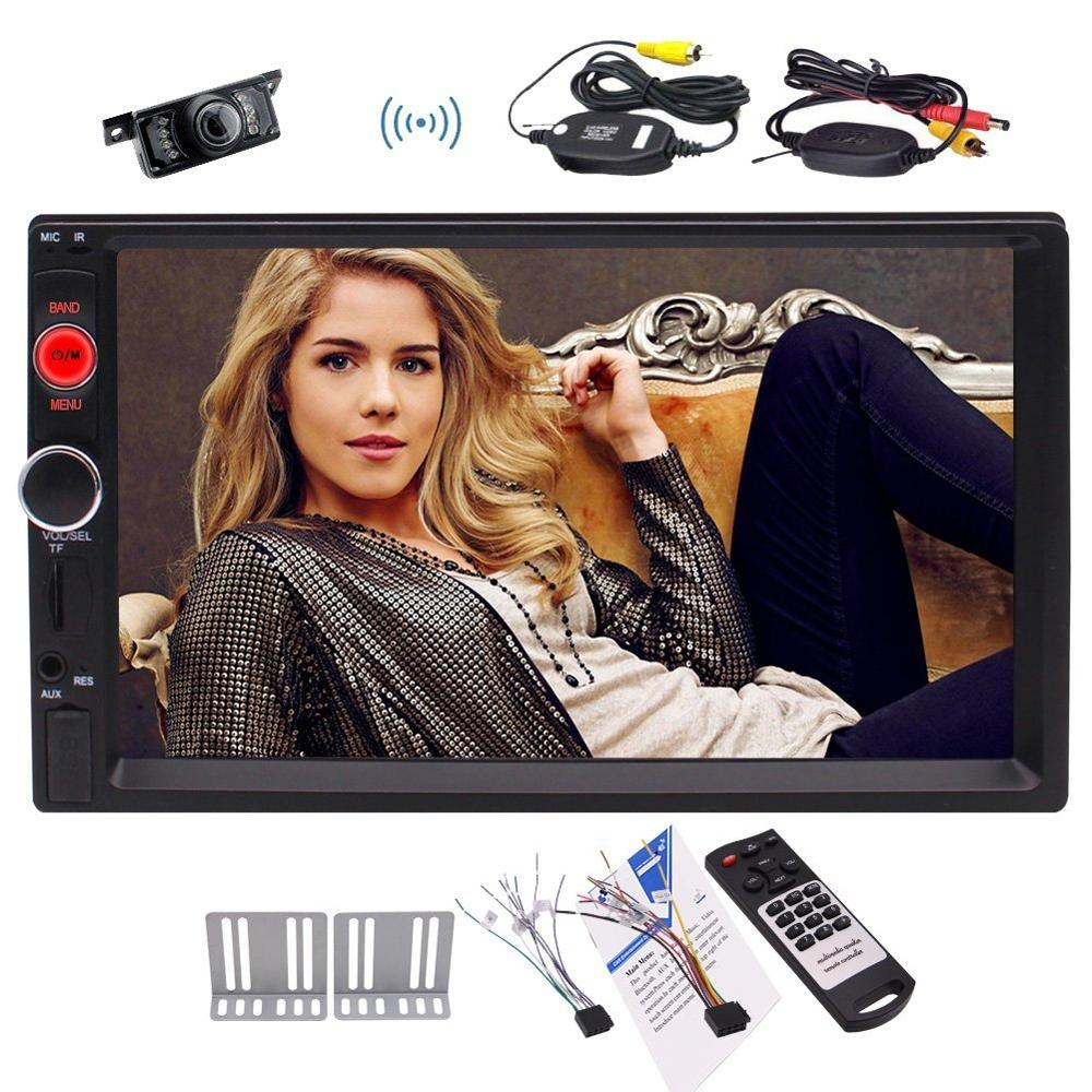 7 Bluetooth MP5 player Stereo FM Radio Video USB Aux Input Color screen Charge for mobilephone Remote Control+Wireless Camera