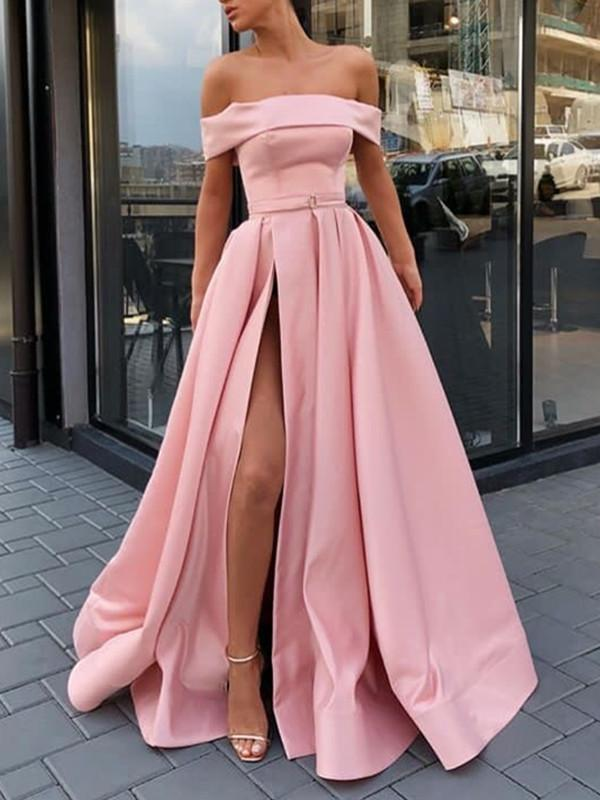 Pink Off the Shoulder Sexy Evening Dress 2019 High Slit A Line Satin Girls Elegant Prom Party Gowns Robe de Soriee  Cheap