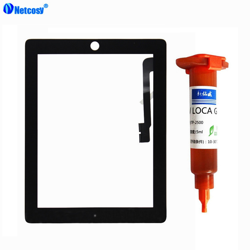 Netcosy Touch Screen Digitizer glass panel Replacement for iPad 3 & 4 Tablet touch panel & 5mL UV Glue Touchscreen For ipad 3 4 15ml b7000 multipurpose adhesive diy tool jewelry rhinestones fix touch screen phone middle frame housing glass tube glue b 7000