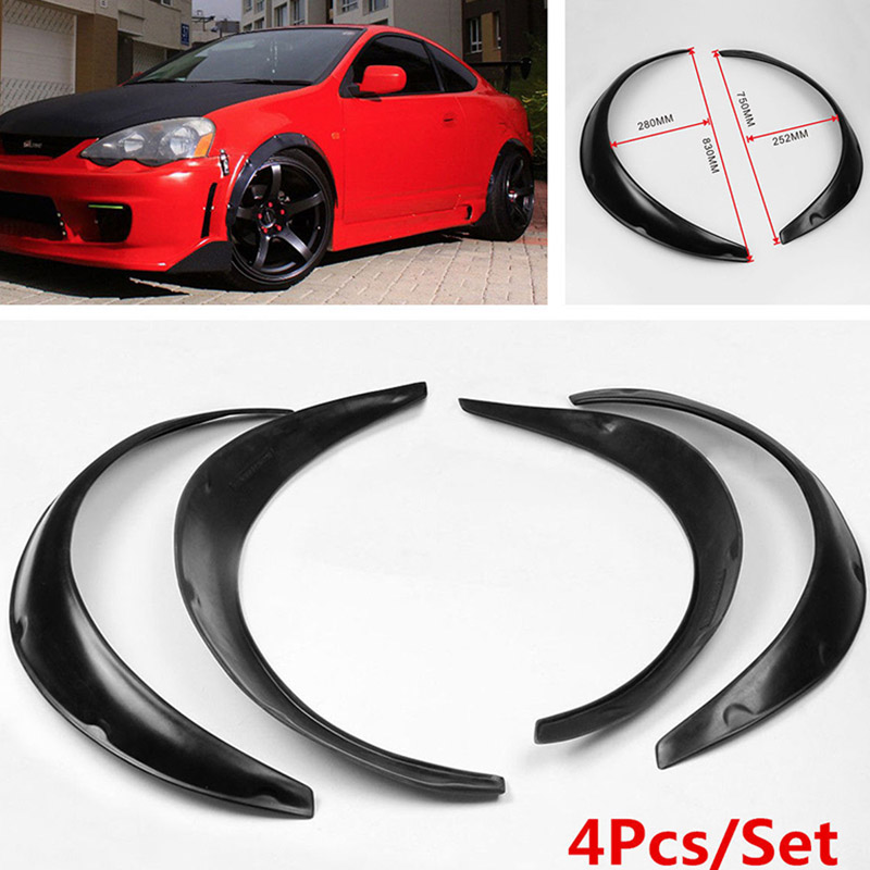 Mayitr 4 Pcs Black Universal Car Body Fender Flares Flexible Durable Polyurethane Kit Arch Wheel Eyebrow Protector Mudguards 4pcs universal jdm fender flares wheel arch 2 inch 50mm decorative left right front rear set abs plastic car fittings
