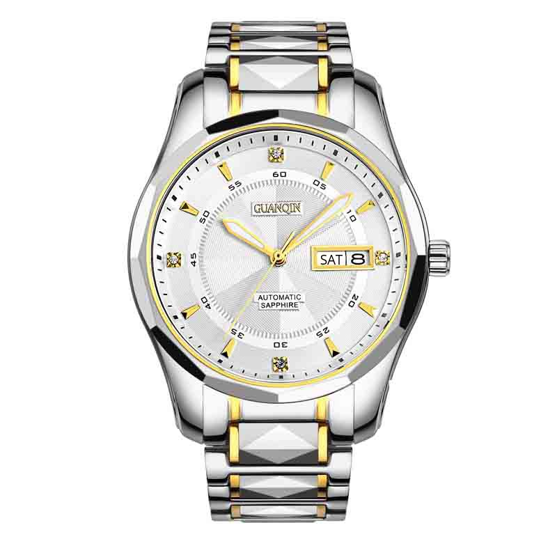 Volledige Tungsten Staal Horloges Topmerk GUANQIN luxe Automatische Horloge Mannen Week Kalender Lichtgevende Waterdicht Mechanisch Horloge Mannen-in Mechanische Horloges van Horloges op  Groep 1