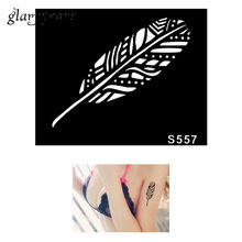 Hot 1 Piece Small Indian Henna Tattoo Stencil Health Body Art Leaf Pattern Design Airbrush Painting Tattoo Stencil Creative S557