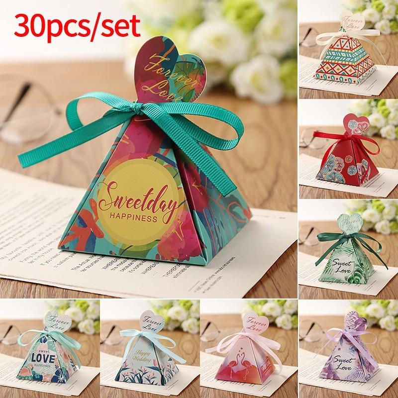 30PCS Flamingo erdei levelek Virág esküvői favors Candy Box - Ünnepi és party kellékek