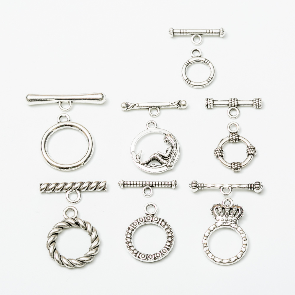 10set/lot Alloy Metal Toggle Clasps Findings For Necklaces Antique Silver Color End Clasps Connectors Hooks DIY Jewelry Making